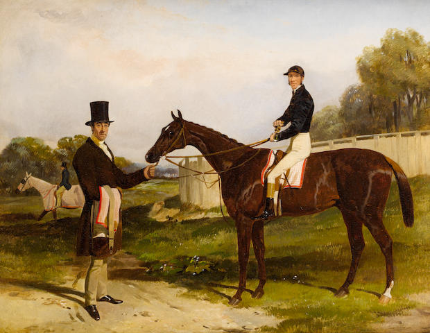 Harry Hall (British, 1813-1882) Mr. John Bowes Daniel O'Rourke with Frank Butler up