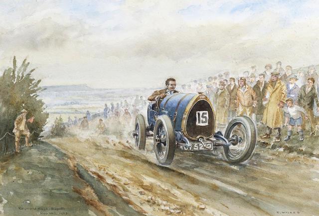 Edward Wilkes (1914-), 'Raymond Mays - Bugatti Kop Hill 1923',