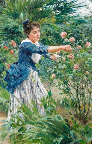 Raffaello Sorbi (Italian, 1844-1931) Pruning the roses