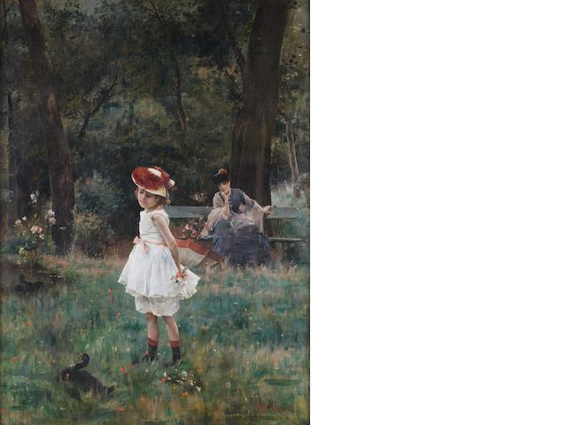 Alfred Stevens (Belgian, 1823-1906) La Fillette aux canards