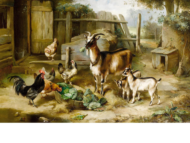 Edgar Hunt (British, 1876-1955) Goats and chickens in a farmyard