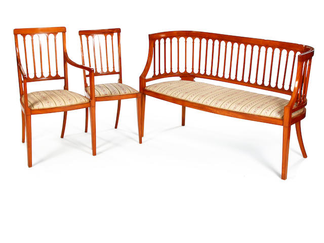 An Edwardian satinwood ten-piece salon suite