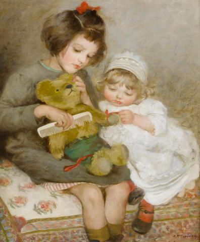Sarah McGregor (British fl. 1869-1885) Combing Teddy