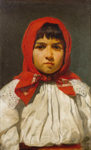Uros Predic (Serbian, 1857-1953) Portrait of a young girl