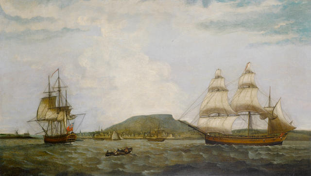 Thomas Luny (Saint Ewe 1759-1837 Teignmouth) The three-masted English merchantman Integrity in two positions in the Saint Lawrence River arriving at Montreal