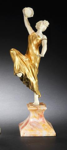 Louis Sosson 'The Tambourine Dancer' an Art Deco Gilt-Bronze and Carved Ivory Study, circa 1925