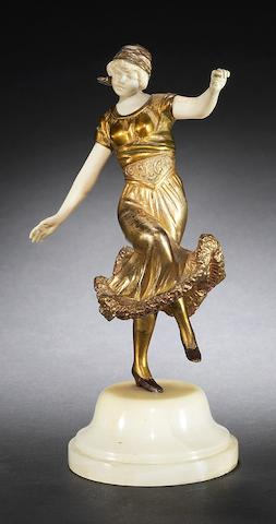 Georges Omerth A Gilt-Bronze and Carved Ivory Study of a Dancing Girl, circa 1920