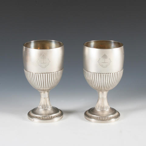 A pair of George III  silver goblets  By Stephen Adams II, London, 1803,  (2)