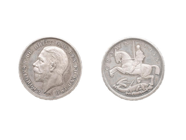 George V, Proof Crown, 1935, bare head left,