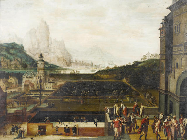 Lucas Gassel (Helmont circa 1500-circa 1570) The grounds of a Renaissance palace with episodes from the story of David and Bathsheba,