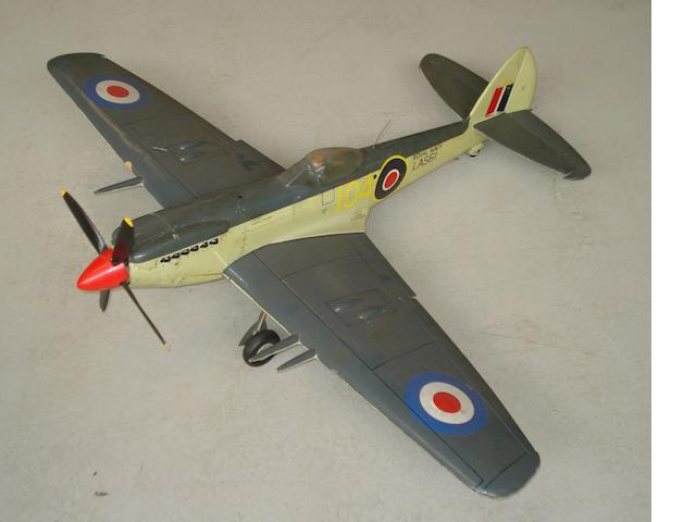 A built-to-fly scale model of a Royal Navy Supermarine Seafire LF MkIII fighter aircraft,