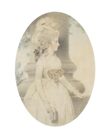 John Downman, ARA (British, 1750-1824) A portrait of Miss Hodgson, facing right, wearing white dress, fichu, pink ribbon tied at her corsage, her powdered hair tied in a banging chignon with black ribbon bow, dressed with handkerchief and plumed feathers, a book in her right hand