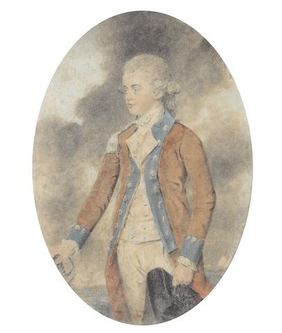 John Downman A.R.A (British, 1750-1824) A portrait of General John Hodgson (1757-1846) when a Lieutenant in the King's Own Royal Regiment, facing left, wearing red coatee with gold epaulette, blue collar and cuffs with gold buttons, white breeches, waistcoat, chemise, cravat and stock, his powdered wig worn  en queue, his sword in his right hand, holding his black tricorn with black rosette in his left
