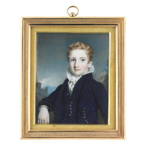 Kenneth Macleay, R.S.A. (Scottish, 1802-1878) Donald Campbell of Sonachan, wearing blue Eton suit, white chemise with frilled collar, blonde hair