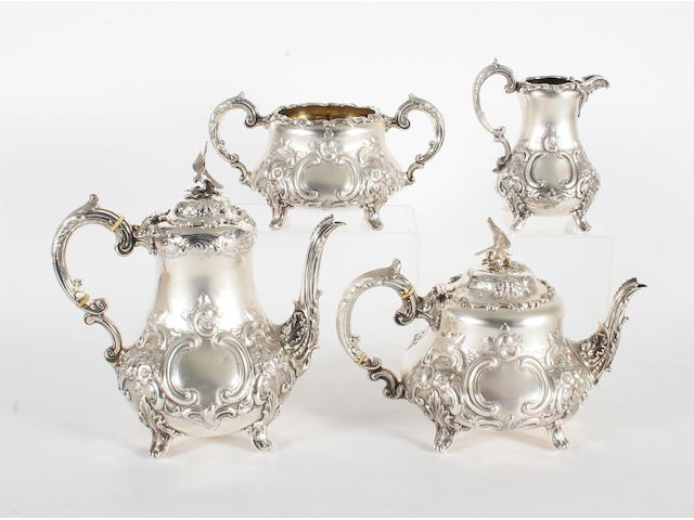 A Victorian silver four piece tea set By Thomas Smily, London, 1875,  (4)