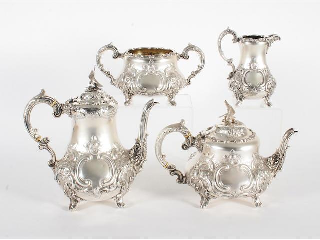 A Victorian silver four piece tea set By Thomas Smily, London, 1875,  (4)