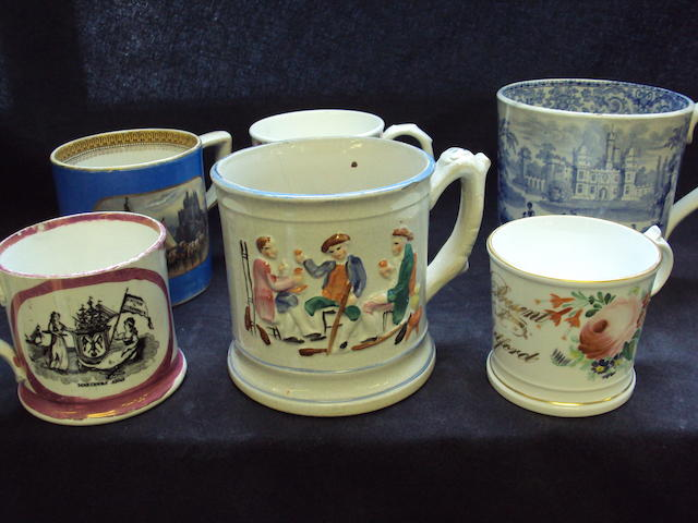 A large collection of various mugs