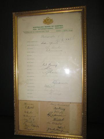 1953 Australian cricket squad autographs