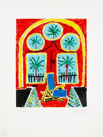 Pablo Picasso (Spanish, 1881-1973) Interieur Rouge avec transatlantique bleu Colour aquatint, 1960, on BFK Rives, signed and numbered 265/300 in red crayon, published by Atelier Crommelynck,  unframed