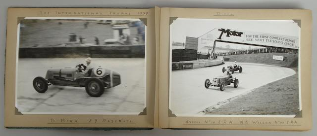 An album of pre-War motor racing photographs including Brooklands,