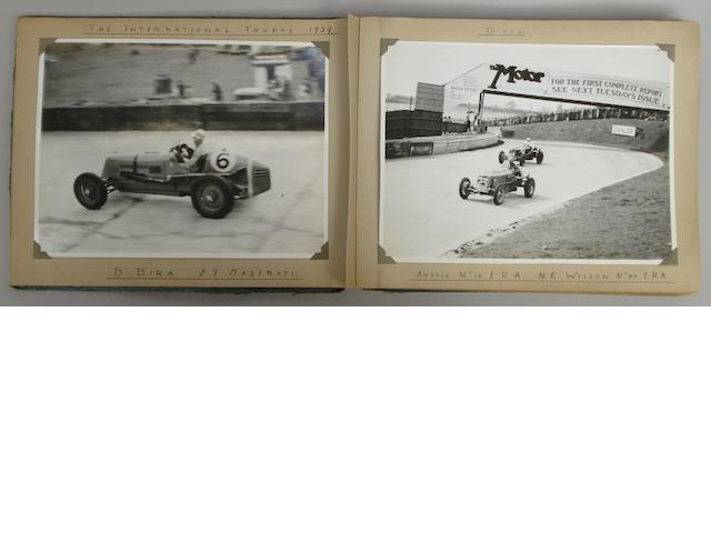 An album of pre-War motor racing photographs including Brooklands,