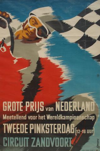 An original Zandvoort Grand Prix poster, 1950s,