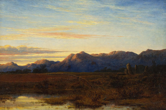 Waller Hugh Paton, RSA RSW (British, 1828-1895) Sunset no 2 27 x 41 cm. (10 5/8 x 16 1/8 in.)