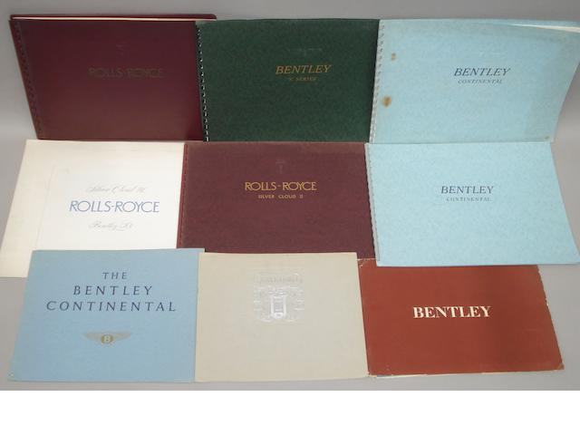 Assorted sales brochures for 1950s and '60s Rolls-Royce and Bentley cars,