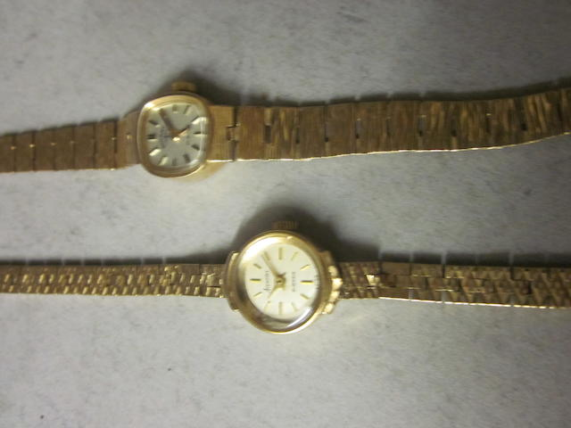 Rotary: A 9 carat gold lady's bracelet watch, (2)