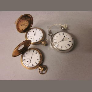 A George IV Verge pair cased pocket watch,  the movement signed Jas Houghton, Ormskirk, no 913, (3)
