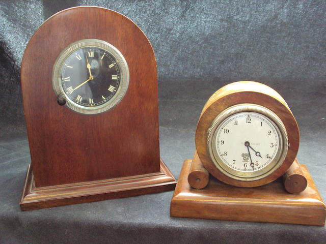 Two cased 1930's automobile clocks