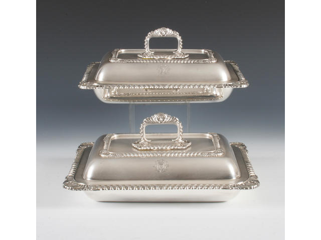 A pair of late Victorian silver entree dishes  By H W Atkin, Sheffield, 1896,  (2)