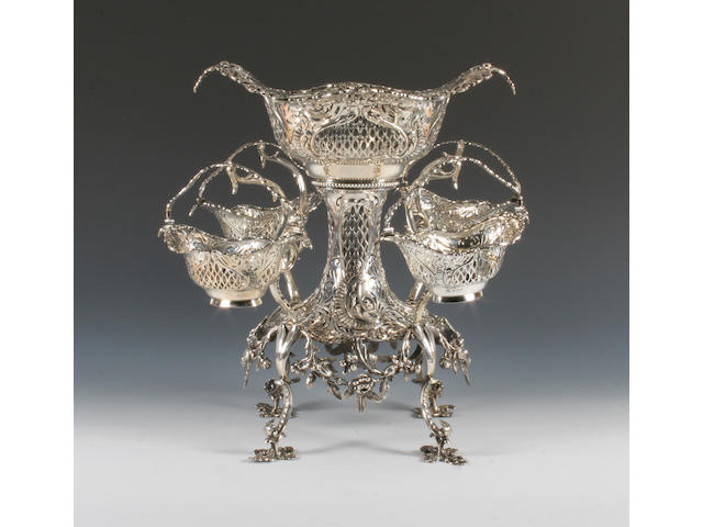 A silver dining table centrepiece/epergne By Elkington & Co, Birmingham, 1911,