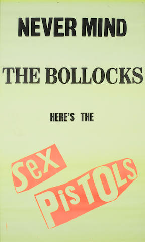 Jamie Reid: an original, large promo poster for the album 'Never Mind The Bollocks Here's The Sex Pistols', 1977,