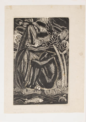 "Leon Underwood (British, 1890-1975) Human Proclivities - Man The Ass Woodcut with collage; the central woodcut of the ass motif applied to another woodcut beneath, titled and inscribed ""4 to be printed. Trial proof on tissue Block unfinished"", 270 x 170mm (10 5/8 x 6 5/8in)(B). Three further impressions of the ""Man as Ass"" motif, one without the vignette beneath the title, one complete and another complete, applied to a paper covered portfolio. Together with two copies of ""Love"", ""Genius"", ""War"", ""Freedom"", two copies of ""Supplicant"", one unsigned and a hand coloured large of ""Supplicant"""