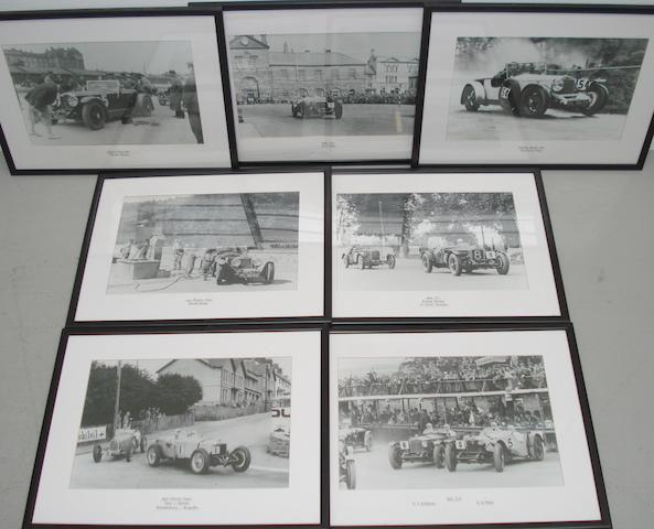 Seven framed motorsport photographs of early 1930s race scenes,