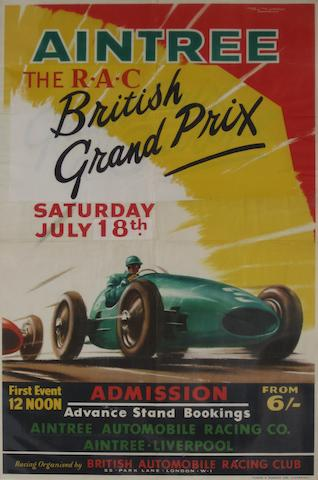 An Aintree British Grand Prix poster, 1959,