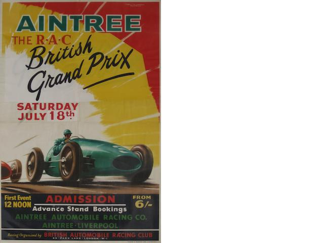 An Aintree British Grand Prix poster