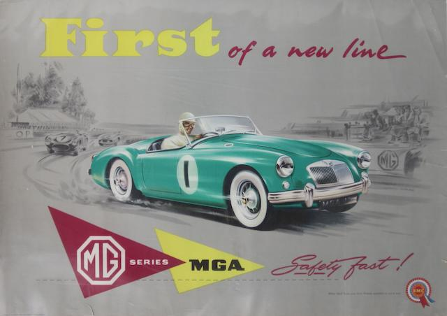 An MG TC factory showroom poster,