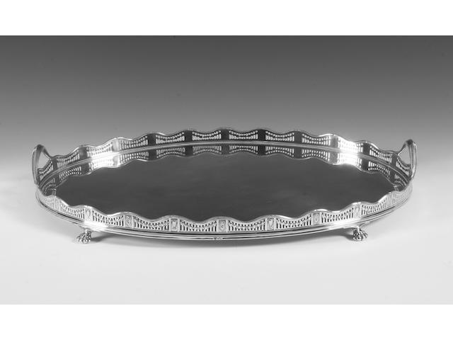 A silver twin handled gallery tray By The Goldsmiths & Silversmiths Co, Sheffield, 1915,