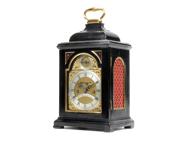 A fine mid 18th Century ebonised verge bracket clock of small proportions William Harrison, London sold with pendulum and winder