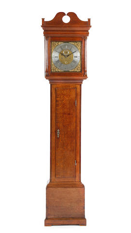 A George II oak-cased 8-day brass dial longcase clock Joseph Smith, Chester (working circa 1725-51) sold with two weights, pendulum, key and winder
