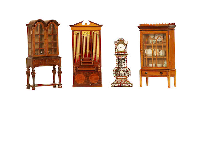 MINIATURE FURNITURE A rosewood and mother of pearl inlaid long case clock together with three other pieces