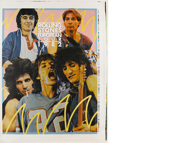 Rolling Stones: 1982  European Tour poster proof and printer's progressives,
