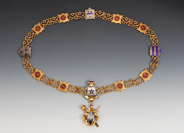 A 15ct gold and enamel Court Leet Manorial Chain by Elkington & Co., Birmingham 1912