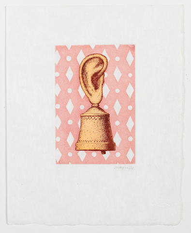 After René  Magritte La Leçon de Musique  Etching with aquatint in colours, 1968, on japan, with the printed signature, with the Atelier René Magritte blindstamp, with full margins, 150 x 100mm (6 x 4in)(PL)   unframed