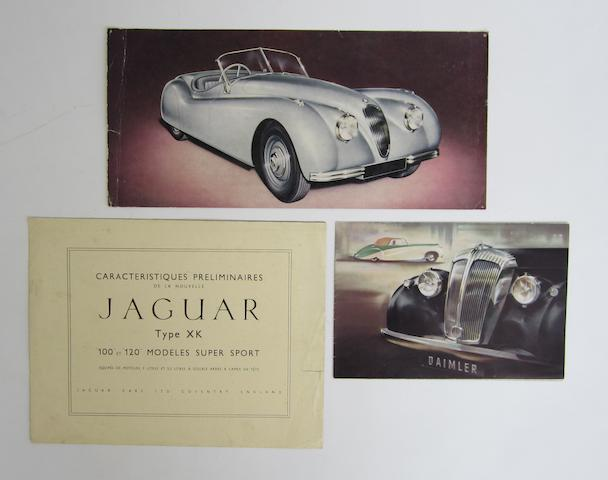 A caracteristiques Preliminaires for the Jaguar XK 100 and 120 Super Sport models,