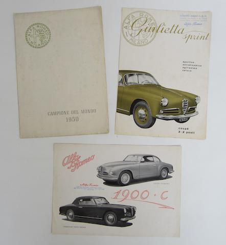 An Alfa Romeo Campione Del Mondo 1950 brochure,