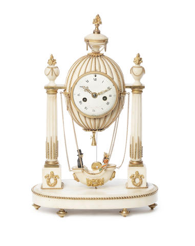 A rare late 18th century French ormolu mounted white marble mantel clock modelled as a hot air balloon Festeau, Paris