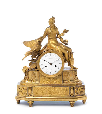 A fine early 19th century French ormolu mantel clock Champion, Rue de La Feuillade, a Paris